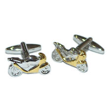 Gold And Silver Two Tone Cufflinks Motorbike Sports Racing Cuff Links New