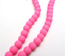 New 30pcs  6mm Loose Charm Rubber Glass beads Solid Color XP13