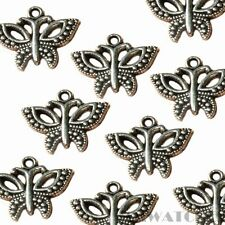 10 TIBETAN ANTIQUE SILVER BUTTERFLY CHARM PENDANT BEADS SIZE 16mmx19mm TS54