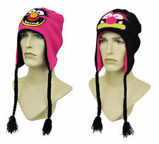 The Muppets Animal Reversible Red Black Laplander Peruvian Beanie Hat Cap Box45