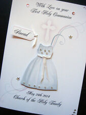 Hand-Made Personalised 'Communion Dress' Card.