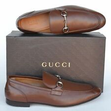 GUCCI New sz UK 11.5 - US 12.5 Horsebit Mens Leather Dress Loafers Shoes Brown