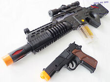 Military Soldier HUGE Toy Rifle Machine Gun with Flashing Lights Black 9mm Cap