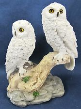 Snowy Owls pair on branch resin figurine home decor collectible C