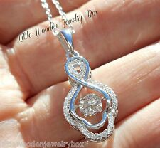 Round Diamond cut Dancing Rhythm IN MOTION Pendant Necklace Sterling Silver