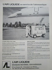 4/1970 PUB AIR LIQUIDE MATERIEL CRYOGENIQUE CONCORDE SUPERSONIC FRENCH AD