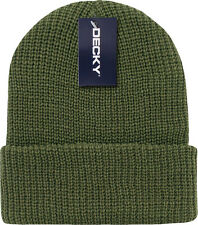 Army Green Ribbed Watch Cap Beanie Knit Winter Hat  Stretch Snowmobile Ski Decky