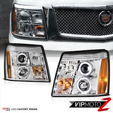 New Euro Chrome Halo LED DRL HID Projector Headlight 03-06 CADILLAC ESCALADE