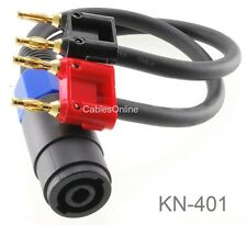 1ft Two Dual Banana Plugs to Speakon Female Type Speaker/Amplifier Jumper Cable