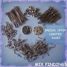 SPECIAL OFFER MIX GUNMETAL FINDINGS PACK EARWIRES CLASPS BEADS HEADPINS CRIMPS