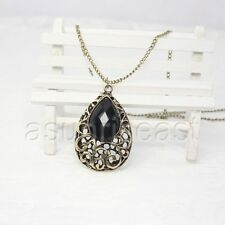 Retro Vintage Bronze Waterdrop Water Drop Gem Stone Pendant Necklace Long Chain