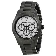 NEW MICHAEL KORS LAYTON CHRONO WHITE DIAL BLACK ION-PLATED LADIES WATCH MK6083