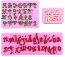 Script Letters & Numbers 3 pc Silicone Mold Set for Fondant Chocolate Crafts