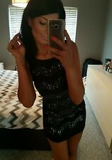 Sexy little black sequin & bead embellished backless fitted mini dress! Size 8