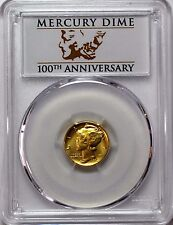 2016 W 24k Gold Mercury Dime PCGS SP70 First Strike 100th Anniversary