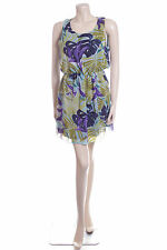 New Carbon Size 12 Blue Green Purple Tropical Floral Floaty Summer Dress