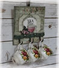~ New! Vintage ~ Shabby ~ French Style ~ Kitchen ~ Wood ~ Tea Cup ~ Mug Holder ~