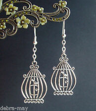 Pretty Bird in a Cage Dangly Silver Plated Earrings