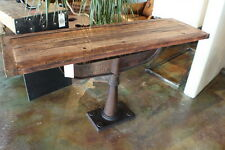 "58"" Console table vintage iron base solid reclaimed old wood industrial design"