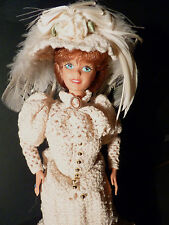 OOAK Barbie in a Cream/Ecru Crochet Dress with Matching Hat and Handmade Shoes