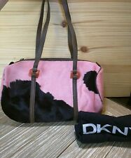 DKNY PINK FUR HIDE COW PRINT PURSE SHOULDER