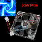 Hot 4Pin DC 12V 80mm /120mm Blue LED Light CPU PC Computer Cooling Case Fan adr