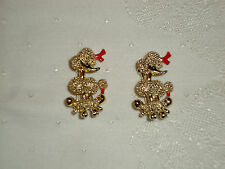 Pair Pins Brooches Unmarked Small Gold Tone Poodle Dogs with Red n Black Enamel