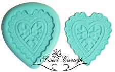 2 piece Crochet Heart Silicone Mould stamp Sugarcraft Cupcake wedding decor mold