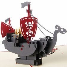 3D Pop Up Cards Handmade Pirate Ship Happy Birthday Christmas Halloween Gift