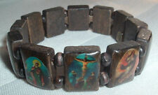 VINTAGE RELIGIOUS BROWN WOODEN SAINT BEAD STRETCH BRACELET IN GIFT BOX