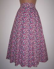 Laura Ashley vintage violet floral cotton peasant Dirndl pleated skirt size 14UK