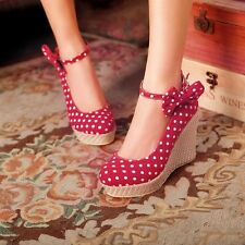 UK Ladies Womens Polka Dot Bowknot Braided Wedge High Heels Pumps Shoes Size 5 6
