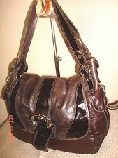 Francesco Biasia Dark Brown Distressed Leather + Patent Trim Shoulder Bag EUC!