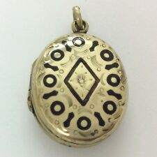 VICTORIAN ROLLED GOLD BLACK ENAMEL MOURNING LOCKET PENDANT