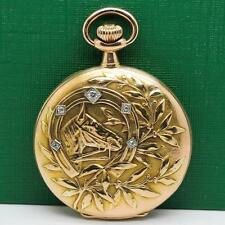 1906's ZENITH 18K SOLID ROSE GOLD DIAMOND HORSE DESIGN MANUAL WIND POCKET WATCH