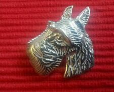 NICE STERLING SILVER TERRIER HEAD  PIN /  BADGE / BROOCH