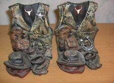 2 Vintage Texas US Marshall Western Cowboy Ceramic Bookends Boots Hat Rope Vest
