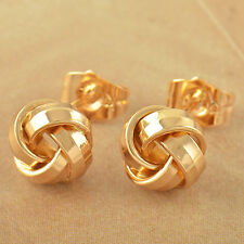 Cute Fashion Gold Filled Womens Love-Knot Flower small Stud Earrings earings lot