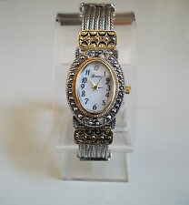 Vintage Look Bracelet Marcasite Antique Special Occasion Oval Silver/Gold Watch