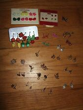 lot N 36 vintage to modern earrings pairs sets post butterfly bows vegetables +