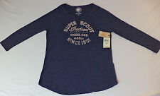 NWT Lucky Brand SUPER SCOUT Indian Motorcycle Split-Neck T-Shirt   XS  K#9658
