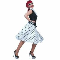 LADIES WHITE POLKA DOT ROCK N ROLL SKIRT AND SCARF 50'S 60'S FANCY DRESS COSTUME