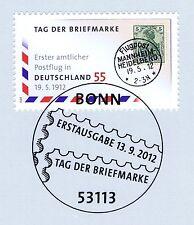 BRD 2012: 1. Postflug! Tag der Briefmarke Nr 2954! Bonner Sonderstempel! 1A 1511