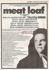 MEAT LOAF In Concert 1986 Tour UK Press ADVERT 7x5 inches