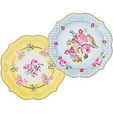 PACK 4 FLORAL SERVING PLATTERS PLATES Retro Vintage Girls Party Picnic Wedding