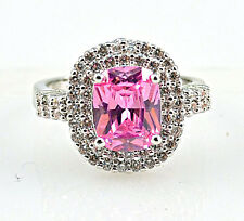 Noble Pink Sapphire & white Topaz Gemstones Silver Ring Size 7