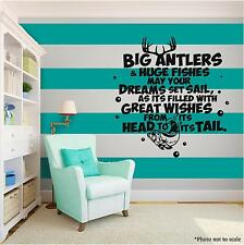 HUNTING DEER & FISH Vinyl Wall Art Wall Quote Home Room Decor Decal Word Phrase