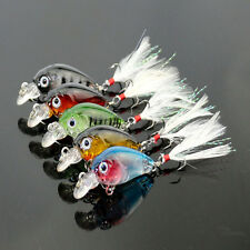 5pcs/Lot Bass Crank Baits Feather Hooks Fishing Lures CrankBait Tackles 3.6cm/4g