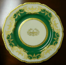 BLACK KNIGHT- HOHENBERG BAVARIA 1930'S SET 12 GREEN + GOLD PLATED dinner PLATES