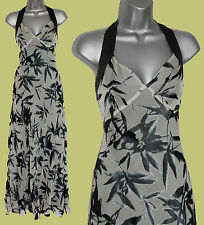 *MONSOON*Grey/Black Silk Print Halterneck V-Neck Wedding Party Maxi Dress sz-12
